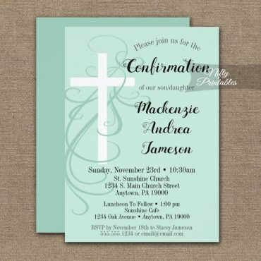 Confirmation Invitation Mint Green Swirly Cross PRINTED