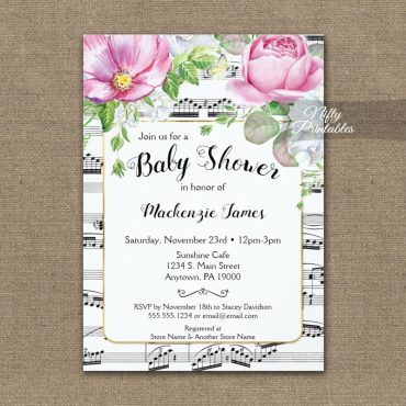 Music Floral Baby Shower Invitations PRINTED