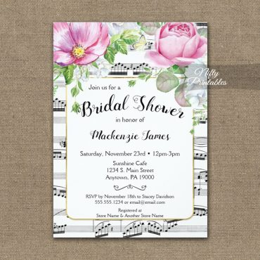 Music Floral Bridal Shower Invitation PRINTED