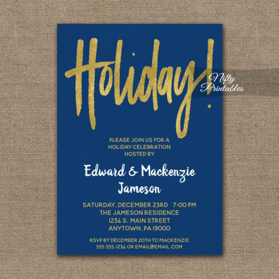 Holiday Party Invitation Navy Blue Gold Script PRINTED