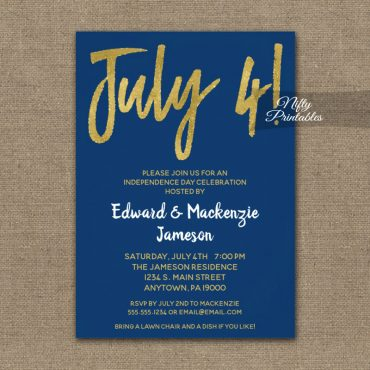 4th Of July Invitation Navy Blue Gold Script PRINTED