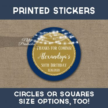 Birthday Stickers Navy Blue Gold Glowing Lights Thank You Favors PRINTED