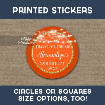 Birthday Stickers Orange Gold Glowing Lights Thank You Favors PRINTED