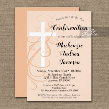 Confirmation Invitation Peach Swirly Cross PRINTED
