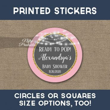 Ready To Pop! Stickers Pink Gray Gold Glowing Lights Thank You Favors PRINTED