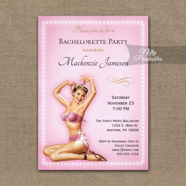 Bachelorette Party Invitation Pink Sexy Pin Up Retro PRINTED