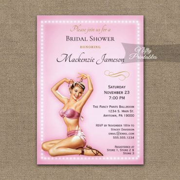 Bridal Shower Invitation Pink Sexy Pin Up Retro PRINTED