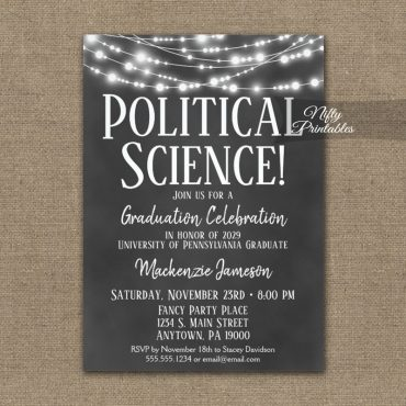 Political Science Graduation Invitation Chalkboard Lights PRINTED