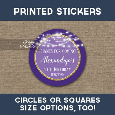 Birthday Stickers Purple Gold Glowing Lights Thank You Favors PRINTED