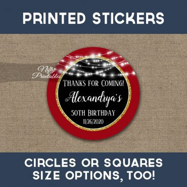 Birthday Stickers Red Black Gold Glowing Lights Thank You Favors PRINTED