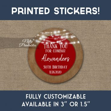 Birthday Stickers Red Brown Lights Thank You Favors PRINTED