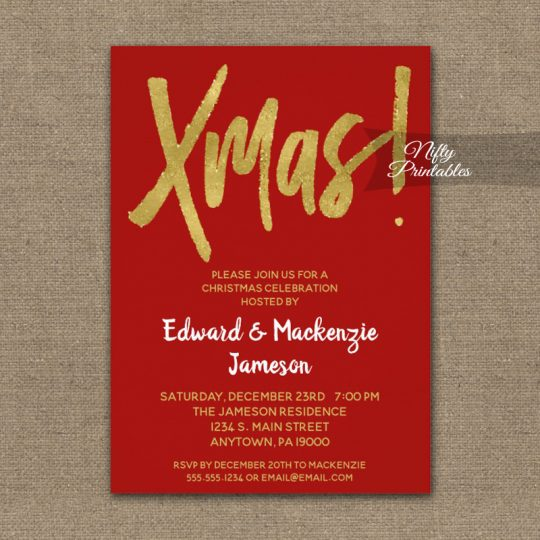 Christmas Party Invitations Red Gold Script PRINTED