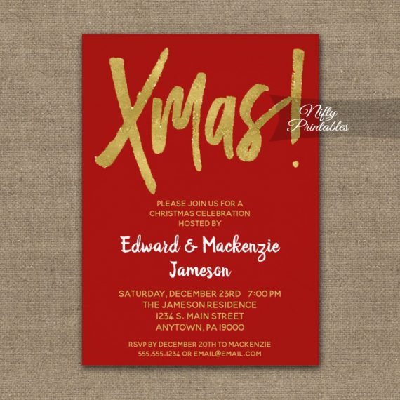 Christmas Party Invitation Red Gold Script PRINTED