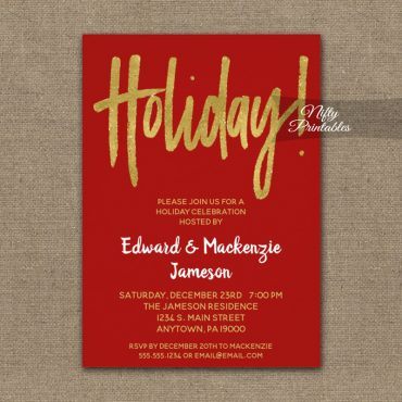 Holiday Party Invitation Red Gold Script PRINTED