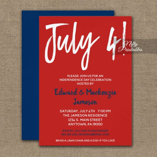 July 4th Invitations Red White & Blue PRINTED