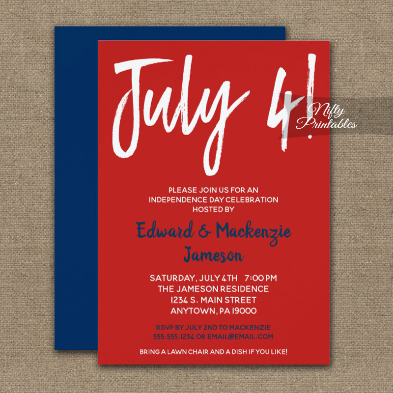 july 4th invitation red white blue printed nifty printables