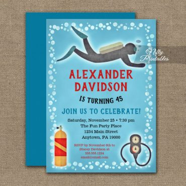 Scuba Diving Birthday Invitation Kids or Adult PRINTED