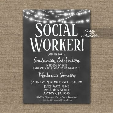 Social Worker Graduation Invitation Chalkboard Lights PRINTED