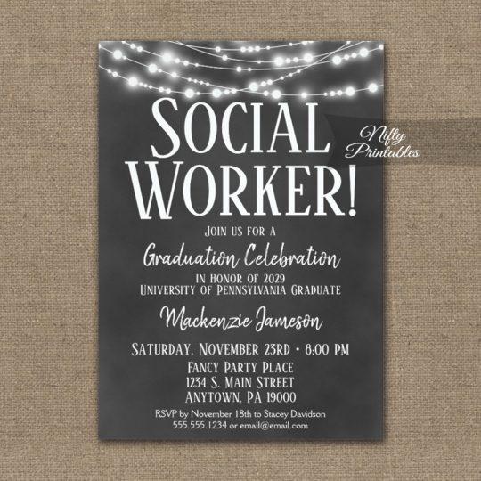 Social Worker Graduation Invitations Chalkboard Lights PRINTED
