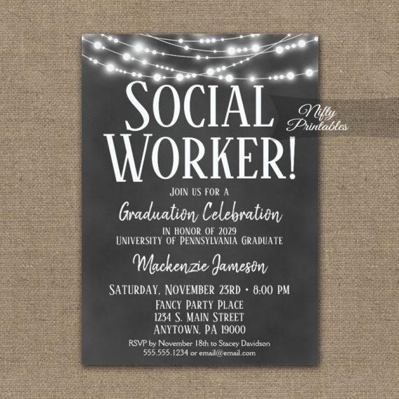 Social Worker Graduation Invitation Chalkboard Lights PRINTED