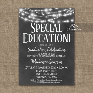 Special Education Graduation Invitation Chalkboard Lights PRINTED