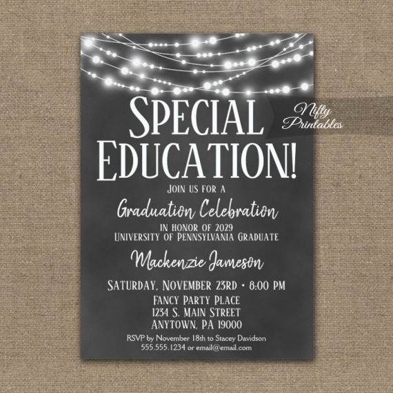 Special Education Graduation Invitation Chalkboard Lights PRINTED