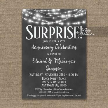 Surprise Anniversary Invitation Chalkboard Lights PRINTED
