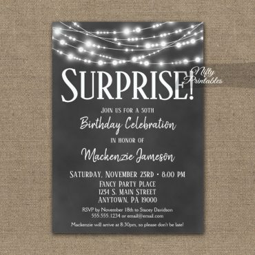 Surprise Birthday Invitation Chalkboard Hanging Lights PRINTED