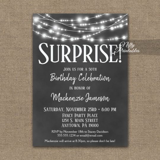 Surprise Birthday Invitations Chalkboard Hanging Lights PRINTED