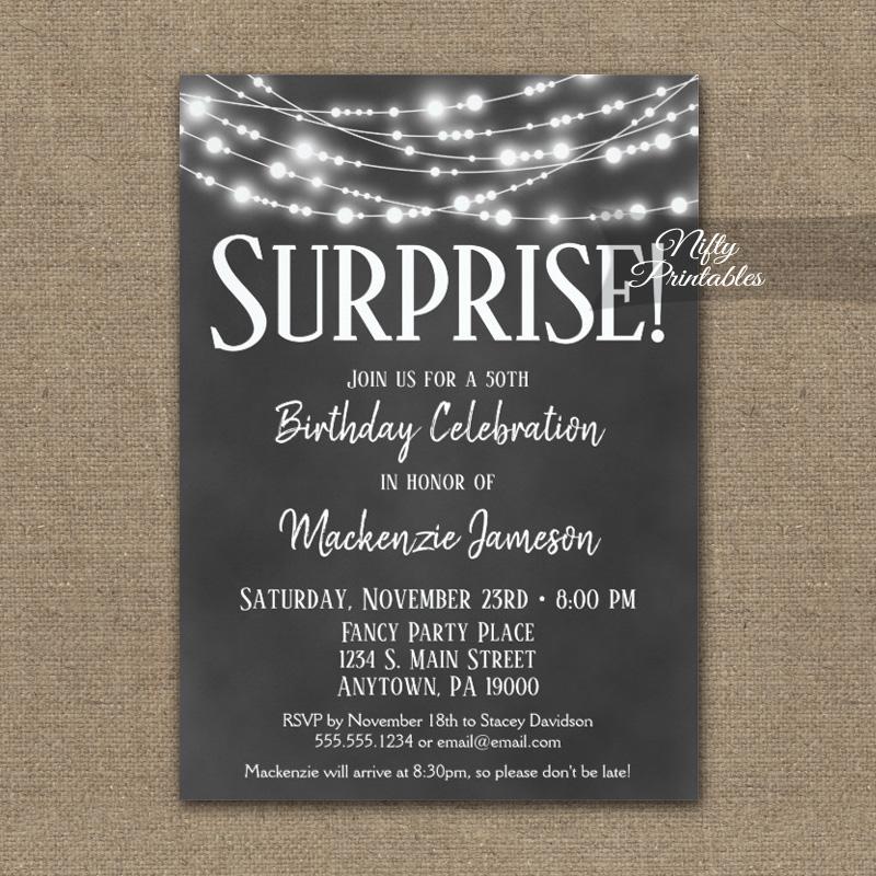 Surprise Birthday Invitations Chalkboard Hanging Lights PRINTED