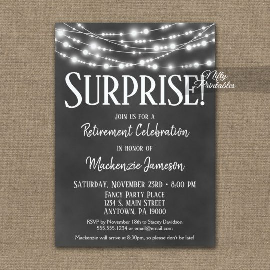 Surprise Retirement Invitations Chalkboard Hanging Lights PRINTED
