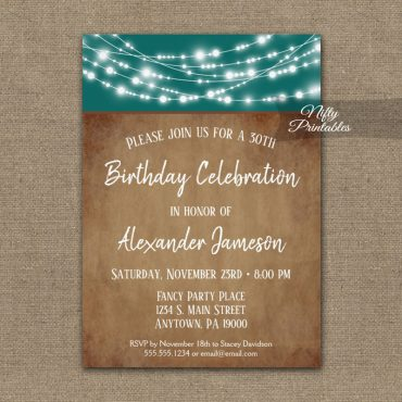 Men's Birthday Invitation Teal Brown Lights PRINTED