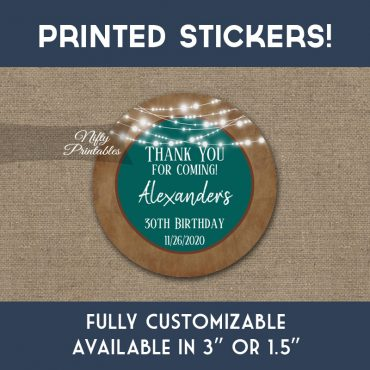 Birthday Stickers Teal Brown Lights Thank You Favors PRINTED