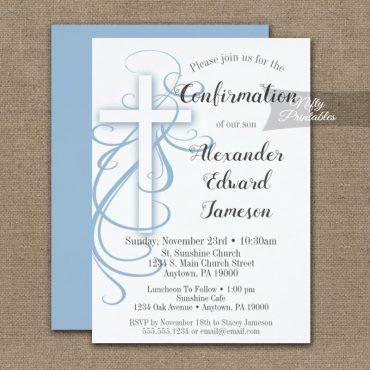 Confirmation Invitation White Blue Swirly Cross PRINTED