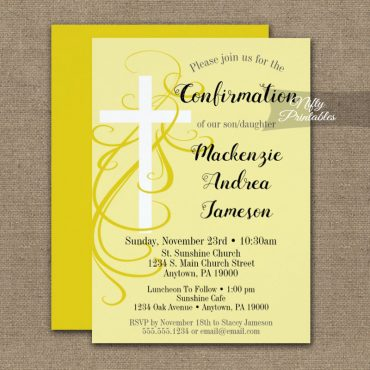 Confirmation Invitation Yellow Swirly Cross PRINTED