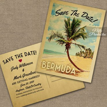 Bermuda Save The Date Palm Tree PRINTED
