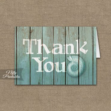 Beach Wood Seashell Folded Thank You Cards PRINTED
