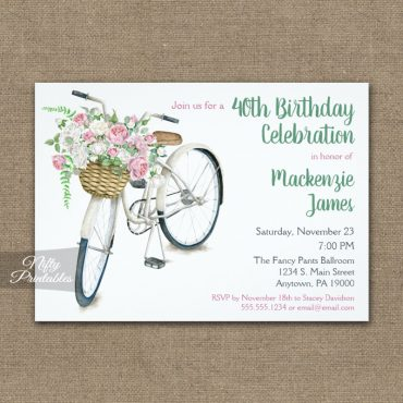 Bicycle Birthday Invitations Floral Roses PRINTED