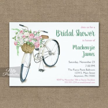 Bicycle Floral Bridal Shower Invitation PRINTED