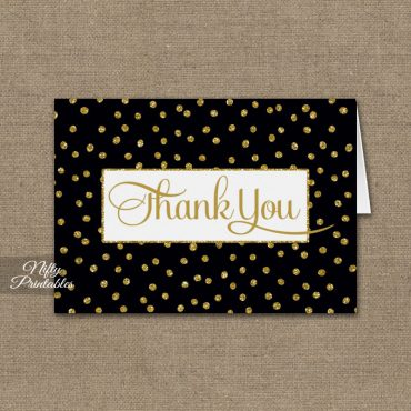 Black Gold Dots Folded Thank You Cards PRINTED