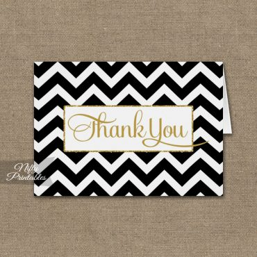 Black White Chevron Folded Thank You Cards PRINTED