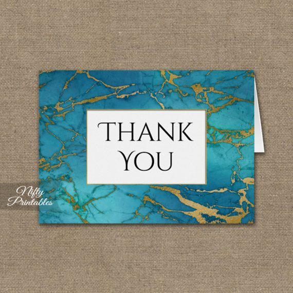 Blue Gold Marble Folded Thank You Cards PRINTED