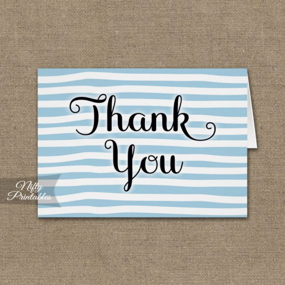 Blue Drawn Stripe Folded Thank You Cards PRINTED