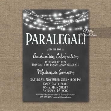 Paralegal Graduation Invitations Chalkboard Hanging Lights PRINTED