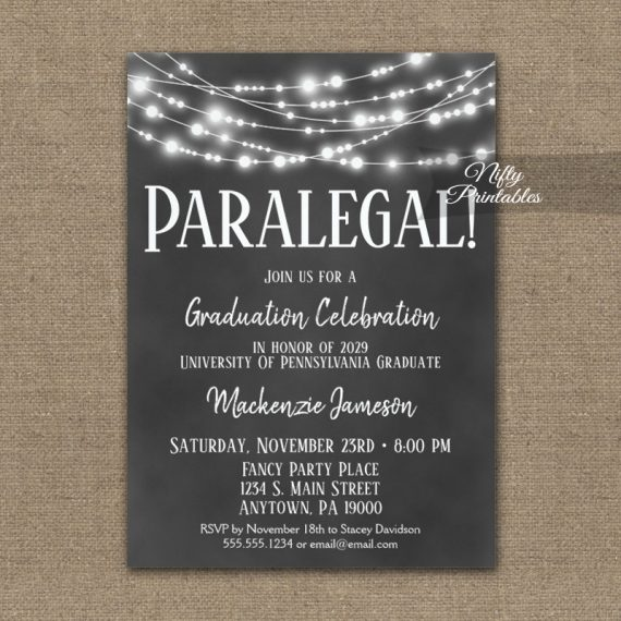 Paralegal Graduation Invitation Chalkboard Hanging Lights PRINTED
