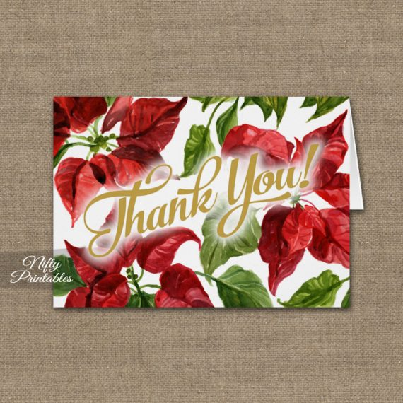 Christmas Poinsettia Folded Thank You Cards PRINTED