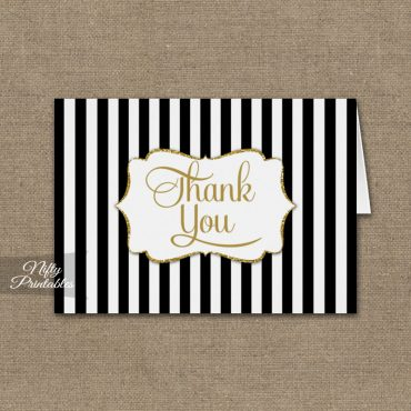 Black Gold Stripe Folded Thank You Cards PRINTED