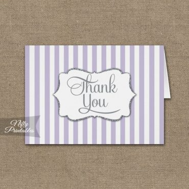 Lavender Silver Stripe Folded Thank You Cards PRINTED