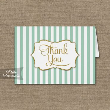 Mint Green Gold Stripe Folded Thank You Cards PRINTED