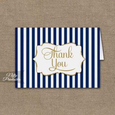 Navy Blue Gold Stripe Folded Thank You Cards PRINTED
